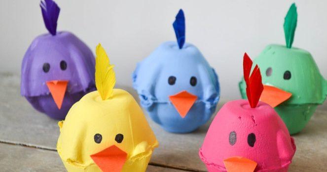 Чудова ідея для творчості із дітьми - курча із лотка для яєць