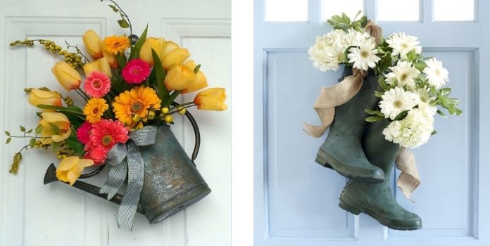 25 ідей віночків та квіткових композицій на двері