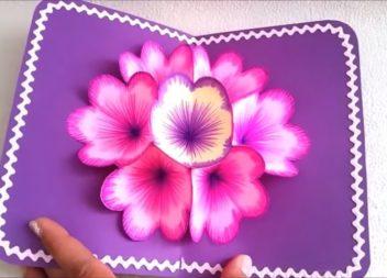 Об'ємна листівка з квітами своїми руками: відео майстер-клас