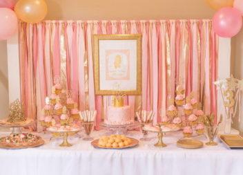 """Вечірка """"Рожевий з золотим"""": декор та деталі"""