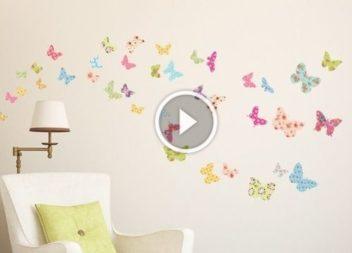 Кольорові метелики для декорації стін: відео-урок