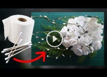 Квіти із туалетного паперу своїми руками: відео-урок