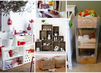 Шафи та полички з дерев'яних ящиків: 17 фото-ідей