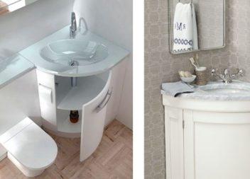 Кутові рішення для маленьких ванних кімнат. Ідеї!