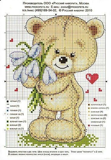 Вышивка крестом два медвежонка 80