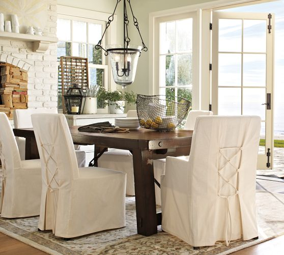 Dining room chairs with slipcovers