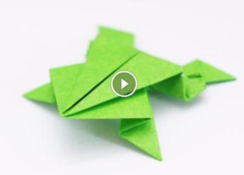 Вчимося техніки орігамі. Робимо класичну жабку! Відео-урок