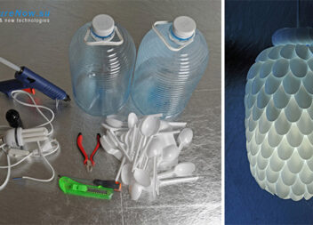 Підвісний абажур із пластикових ложок та пляшки. Майстер-клас
