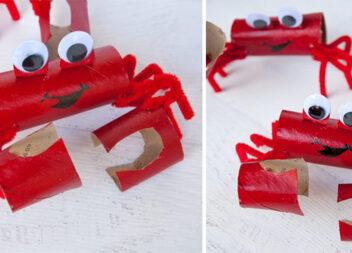 Іграшка-краб із втулок від туалетного паперу