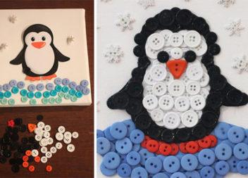 Пінгвін з ґудзиків: рукоділля з дітьми!