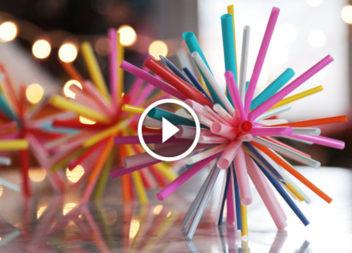 Ялинкова прикраса з коктейльних трубочок: відео-урок