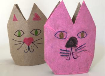 Котик з паперового рулону: ідея для дітей