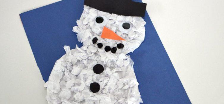 Сніговик з паперу: рукоділля з дітьми
