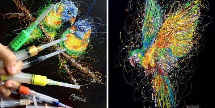 Медстестра у вільний від роботи час малює шприцами картини. Оцініть