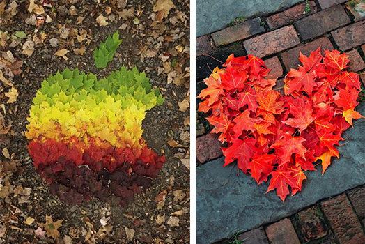 Ідеї творчості з осіннього листя - 20 фото