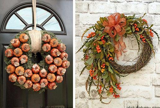Осінні віночки для декору дому - 40 ідей