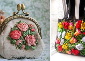Ніжна вишивка стрічками: 20 вдалих ідей декору одягу та сумок