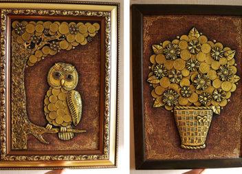 Грошове дерево: 15 цікавих ідей створення картин з монеток