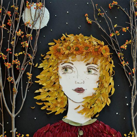 Фантастические картины из опавших листьев