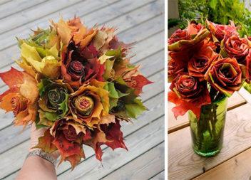 Троянди з осіннього листя: детальний майстер-клас із виготовлення