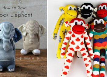 Іграшкові звірята зі шкарпеток - слоник, баранчик і мавпочка. Майстер-класи та викрійки