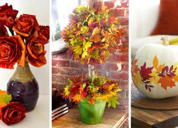 24 ідеї декоративного використання осіннього листя