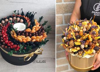 Солодкі букети з горіхів, сухофруктів та цукатів: 43 ідеї