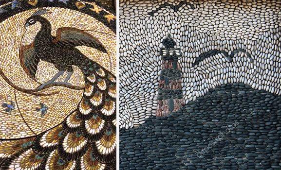 Мозаїка з морської гальки: красиві ідеї