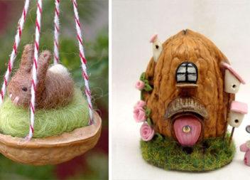 Міні композиції з горіхової шкарлупи: 27 фото-ідей