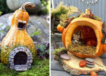 Осіння казка: робимо чарівні хатинки з гарбузів (27 фото)