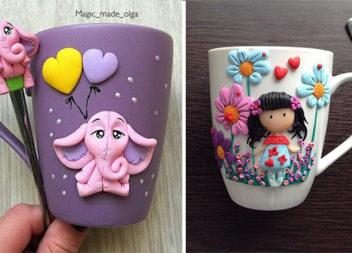 Декоруємо чашки полімерною глиною: 28 ідей
