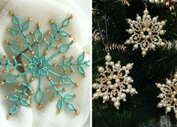 Сніжинки з бісеру та перлинок: схеми для плетіння та ідеї
