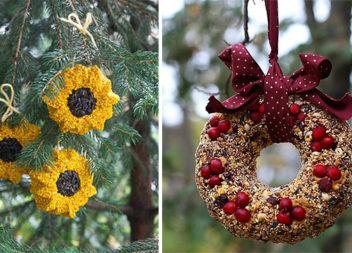Годівнички для птахів у вигляді новорічних прикрас: 34 неймовірні ідеї