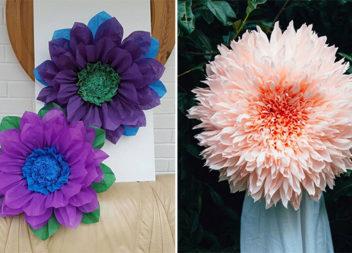 Гігантські квіти з гофрованого паперу: майстер-класи та ідеї