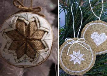Ялинкові прикраси із мішковини (20 ідей для новорічного свята)