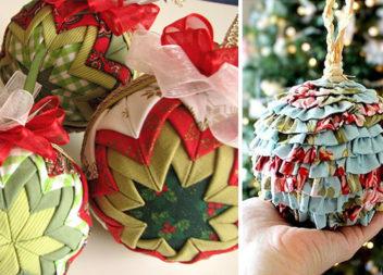 Ялинкові прикраси із використанням тканини та мережива: 23 красиві ідеї