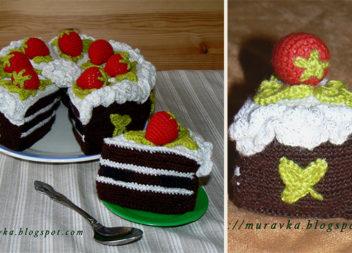 Шоколадний торт із полуницями: в'яжемо гачком (детальний опис з фото)