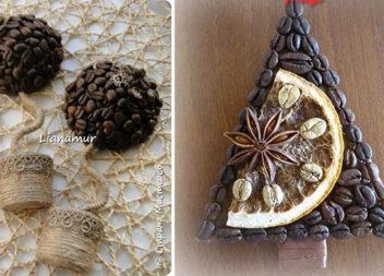 Святкові магніти з кавових зерен (28 ідей для подарунку)