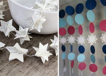33 ідеї красивих паперових гірлянд до новорічного свята