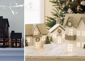 Картонні будиночки: різдвяний декор (34 ідеї та схеми)