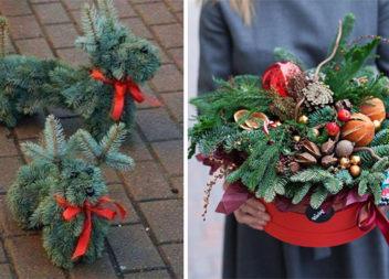 Неймовірні новорічні композиції із використанням ялинки, туї та сосни (30 ідей)