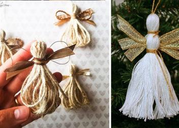 Робимо різдвяних ангелів із ниток та мотузки (25 ідей)
