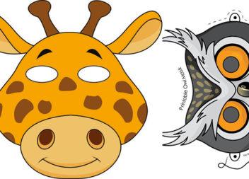 Паперові маски тварин для дитячого новорічного свята (34 фото)