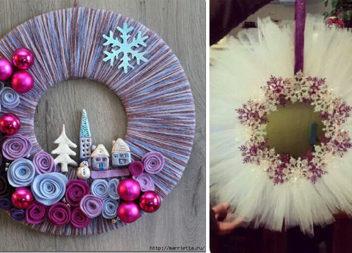 Пухнасті та м'якенькі різдвяні віночки із ниток та фатину