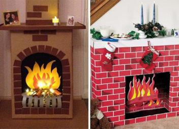 Камін із картону самотужки. 30 варіантів саморобних камінів та вогню для новорічного настрою