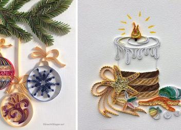 Новорічний квілінг: виготовляємо чудові прикраси із паперових смужок (30 фото)