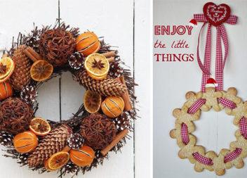 Різдвяні віночки із печива, кориці та цитрусових (15 ідей)