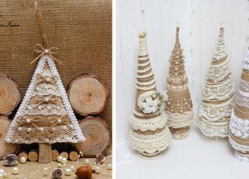 Казковий новорічний декор з мішковини та мережива (25 виробів)