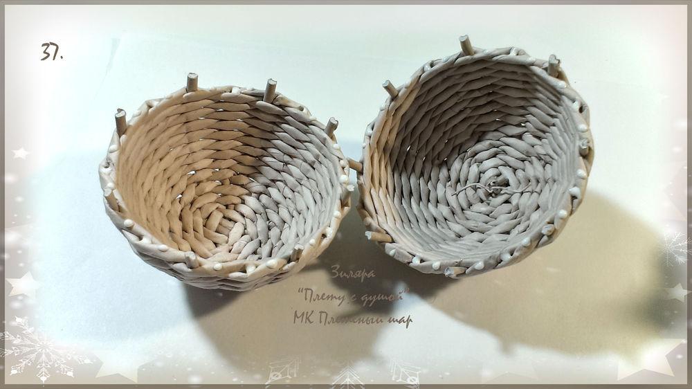 Елочный шар из газетных трубочек.