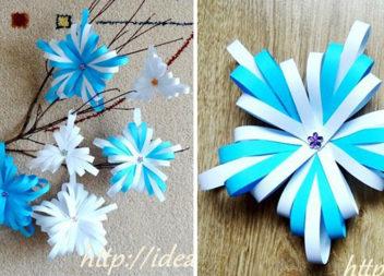 Сніжинка із паперових смужок (майстер-клас)